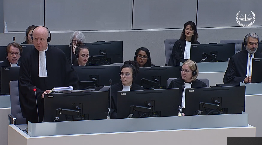 Fergal Gaynor, legal representative for 82 Afghan victims presents his arguments during the appeal at the ICC. Photo: ICC, 2019