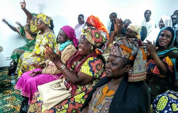 Victims of former Chadian dictator Hissène Habré celebrate his conviction by an African Union-backed court in Senegal on 30 May 2016. © Ruth McLean